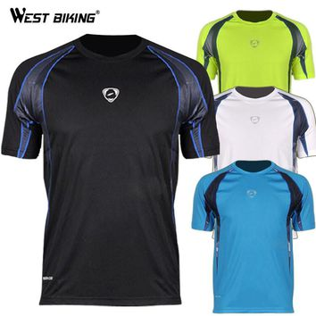WEST BIKING Brand Design Men O-neck Cool T-shirts Male Bike Sports Quick Dry Shirts Bicycle Running Cycling Jersey
