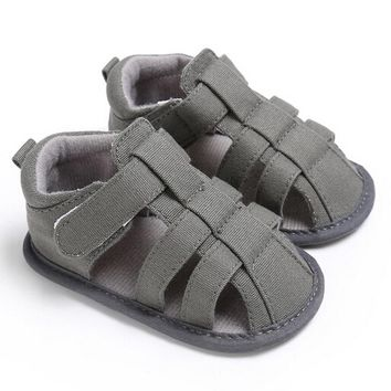 2018 Summer Baby Boys Gray Canvas Soft Sole Crib Sneakers Sandals Shoes Pre Order