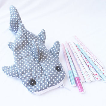 Cute Whale Shark Pencil Case, Zipper Pouch - Gray Polka Dot