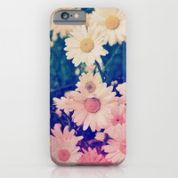 Pink Turquoise Ombre Grunge Daisies iPhone & iPod Case by Hyakume