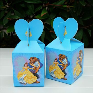 12Pcs /lot  Beauty and the Beast Theme Paper Bag Candy Box Gift Box Kids Baby Shower Birthday Party Decoration Party Supplies
