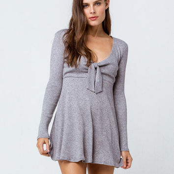 SOCIAL GYPSY Ribbed Tie Front Fit N Flare Dress