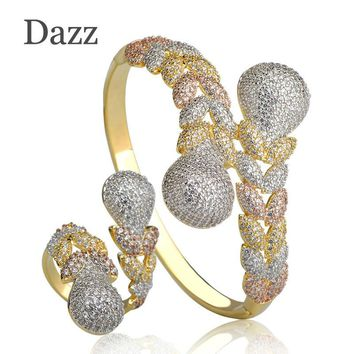 Dazz Luxury Rhinestones Wedding Jewelry Sets Three Color Layer Copper Braid Shape Ring Bangle Set Full Zircons Party Bijoux
