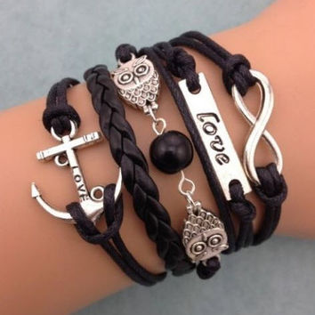 Free + Shipping NEW Infinity Owl Love anchor Friendship Leather Charm Bracelet Silver Cute
