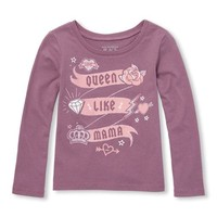 Baby And Toddler Girls Long Sleeve 'Queen Like Mama' Glitter Graphic Tee