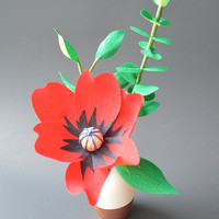 Paper Flower Arrangement - Small red paper flower with greenery in bisque ceramic vase - Handmade Crepe Paper Flower arrangement