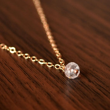 Real Morganite Necklace, Rose Gold Jewelry, Simple Gemstone Choker Necklace, Dainty Jewelry, Genuine Blush Pink Stone, Free Shipping
