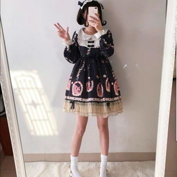 Autumn And Winter Japanese Sweet Girl Lolita Dress Western Style Daily Cute Girl Student A-line Puff Sleeve Princess Dress