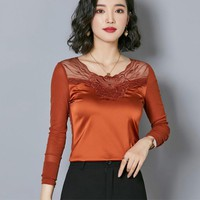 2018 Autumn Long Sleeve O Neck Embroidery Mesh T-shirts Women Slim Body Mesh Spliced Satin T-shirts Lady Satin Top Pullovers