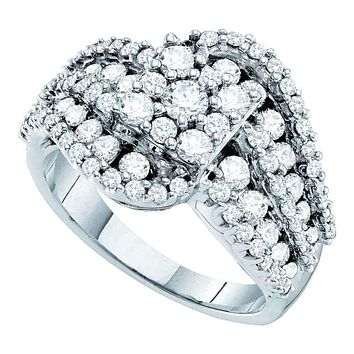 14kt White Gold Women's Round Diamond Flower Cluster Swirl Cocktail Ring 2.00 Cttw - FREE Shipping (USA/CAN)