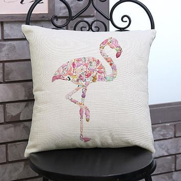 Animal Painting Linen Cushion Cover Throw Waist Pillow Case Sofa Home Decor