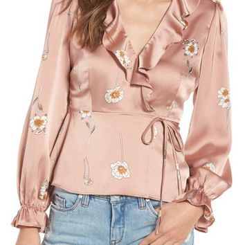 ASTR the Label Chantilly Wrap Blouse   Nordstrom