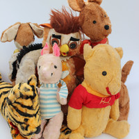 Vintage Winnie The Pooh Toy Doll Collection, Rabbit Roo Kanga Owl Piglet Eeyore Tigger Pooh Walt Disney Collectibles Classic Winnie The Pooh
