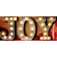 JOY - LED Illuminated Vintage Marquee Metal Sign - Christmas - 9-in High Letters