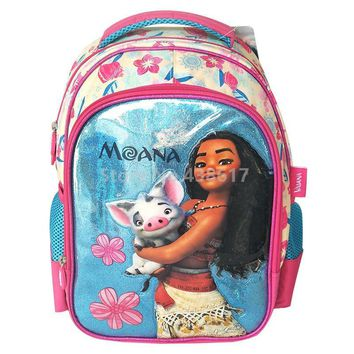 New Fashion Pink Blue Moana Princess Girls School Bag Cartoon Kids Backpack Bags For Children Schoolbag