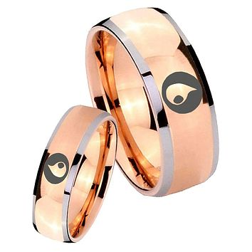 His Hers Rose Gold Dome Magic Gathering Two Tone Tungsten Wedding Rings Set