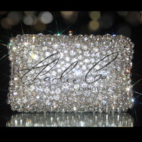 CHARLIE CO. Chunky Diamond Rock Clear Crystal Clutch Bag Purse Bridal Evening Occasion Prom Wedding Sparkly Crystallized