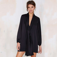 Black Long Sleeve Tie Collar Loose Dress