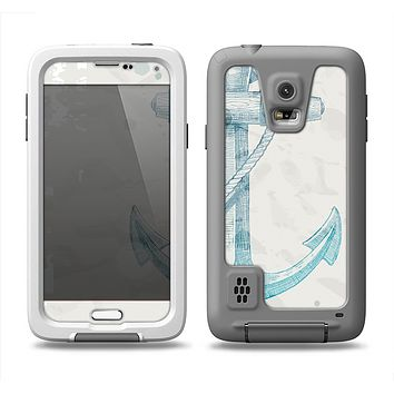 The Vintage White and Blue Anchor Illustration Samsung Galaxy S5 LifeProof Fre Case Skin Set