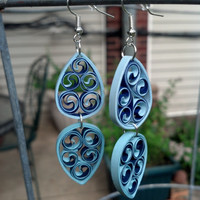 Eco-Friendly Paper Filigree Quilled Earrings Dangle Double Drops - Shades of Blue - paper quilling jewelry, blue earrings, gift for her