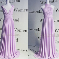 Pastel Lavender Handmade Full Length Infinity Wrapping Dress Multiple Convertible Bridesmaids Evening Gown Tailor Made Plus Size Woman Dress