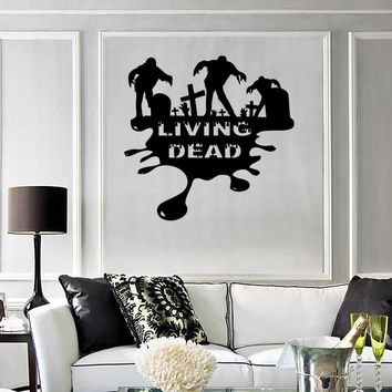 Wall Stickers Vinyl Decal Zombie Living Dead Horror Mystery Cemetery Unique Gift ig1673