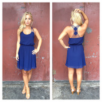 Navy Double Diamond Dress