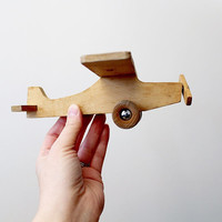 Vintage Wooden Airplane Toy by Jukka of Finland - Vintage Toy Propeller Plane - Mid Century Folk Art Wooden Toy
