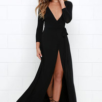 Garden District Black Wrap Maxi Dress