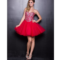2013 Prom Dresses - Red Chiffon & Sequin Short Prom Dress - Unique Vintage - Prom dresses, retro dresses, retro swimsuits.