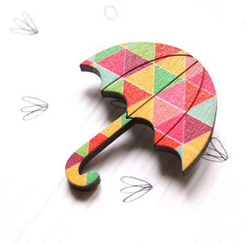 Umbrella Brooch with Colorful Triangle Patterns in Pink, Green and Yellow - Woody collection