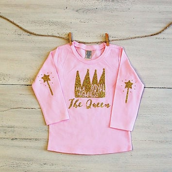 Toddler Glitter T Shirt Her Royal Highness The Queen Long Sleeve Tee - Pink with Gold Crown and Wand Elbow Patches