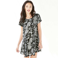 Black Floral Printed Zipper Back Casual Mini Dress