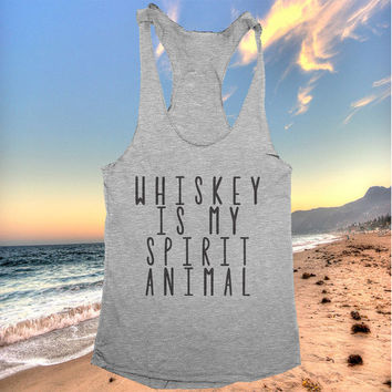 Whiskey Is My Spirit Animal racerback tank top yoga gym fitness workout exercise muscle top women ladies funny training tumblr
