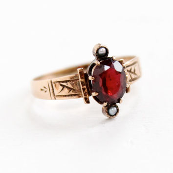 Antique Victorian 8k Rose Gold Garnet & Seed Pearl Ring - Size 6 1/2 Late 1800s Red Gemstone Fine Jewelry