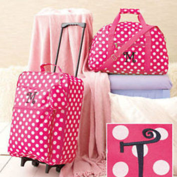 """3 Pc Girls Monogram Letter """"T""""  Pink Luggage Set Rolling Suitcase Duffel Clutch"""
