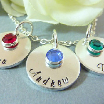 Personalized Necklace Mother Necklace Grandma necklace Family Childrens names Mommy Grandmother Hand stamped jewelry