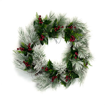 Snow Pine Red Berry Wreath - 22 Inch