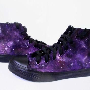 DCCKHD9 Custom handpainted purple galaxy sneakers,personalized shoes, galaxy converse, galaxy