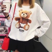 Moschino Women Casual Cute Bear Pattern Print Sequin Decoration Long Sleeve Pullover Sweater Loose Tops