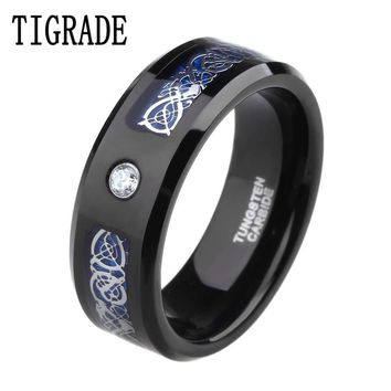 8mm Cubic Zirconia Blue Carbon Celtic Dragon Tungsten Carbide Ring Men Engagement Wedding Band Rings of Honor anillos hombre