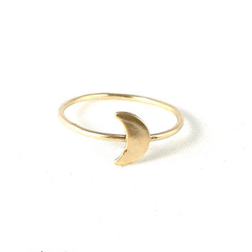 Crescent Moon Ring, Gold, Tiny Ring, Stack Ring, Moon Ring, Astronomy, Astrology, Dainty Ring, Moon Ring