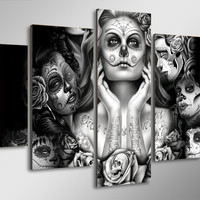 Day of the Dead Face Ladies 5-Piece Wall Art Canvas