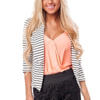 Ivory and Black Striped 3/4 Sleeve Cropped Blazer