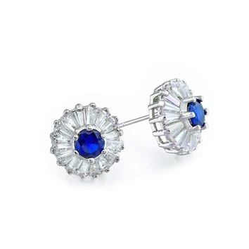 Cubic Zirconia Round Baguette Simulated Sapphire Blue CZ Earrings
