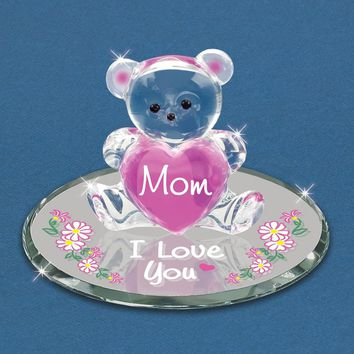 Glass Baron Bear Mom I Love You Figurine