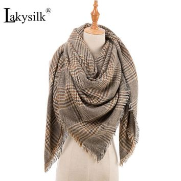 Lakysilk Elegant Plaid Scarf Cashmere Women Autumn Winter Pashmina Female Large Blanket Bandana Hijab Scarves Luxury Brand