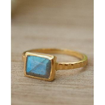 Labradorite Gold Ring (BJR120A)