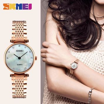 SKMEI Silver Women Watch Luxury High Quality Water Resistant Ladies Full Stainless Steel Small Dial Woman Watches Brand 1223