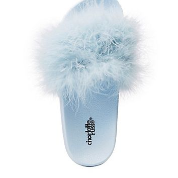 Faux Feather Slide Sandals | Charlotte Russe